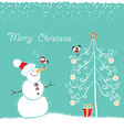 Christmas winter card with snowman and bullfinch vector image