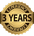 3 years experience golden label with ribbon vector image vector image