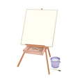 A Wooden Artist Easel with Brushes and Bucket vector image