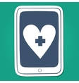 Tablet or smartphone with red cross heart emblem vector image