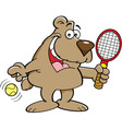 Cartoon Bear Holding a Tenis Racket vector image