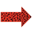 Directional arrow with the airplanes inside vector image