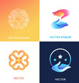 Logo design templates in bright gradient colors vector image