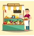 Showcase with man selling cheese products vector image