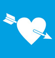 heart with arrow icon white vector image