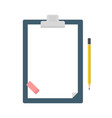 clipboard with blank sheet of paper a pencil and vector image