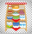 dairy products on showcase shelves vector image