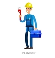 Friendly plumber he is dressed in work clothes vector image