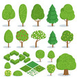 isometric trees icons set vector image