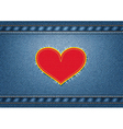 Jeans background with heart patch vector image