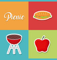 set of picnic summer icon vector image
