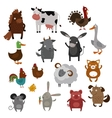 Farm animals pets cartoon vector image