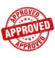 approved red grunge round vintage rubber stamp vector image