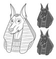 set of black and white images with anubis vector image