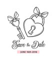 wedding key and lock vector image