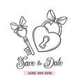 wedding key and lock vector image