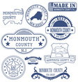 Monmouth county New Jersey stamps and seals vector image