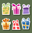 Abstract gift sticker set vector image