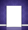 blank canvas leaning on purple wallpaper 0508 vector image vector image