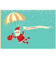Santa Claus on parachute flying on blue sky with vector image