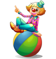 A clown sitting on a ball vector image vector image