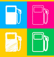gas pump sign four styles of icon on four color vector image