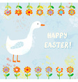 Happy easter card with goose vector image