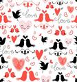 bright graphic pattern of love birds and hearts vector image