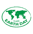earth day green grunge map stamp style symbol 2 vector image
