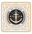 Nautical the voyager retro white card vector image