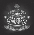 Christmas wishes hand-lettering with chalk vector image