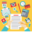 Document with Hands and Icons - Flat Style vector image