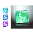 glass icons green talking telephone phone vector image
