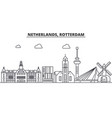 netherlands rotterdam architecture line skyline vector image