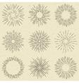 Set of hand drawn retro sunburst fireworks or vector image