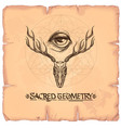 skull with horns and a magical eye elements in vector image