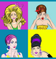 pop art beautiful women square concept vector image