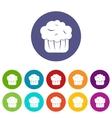 Cupcake set icons vector image
