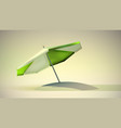 green and white beach umbrella vector image