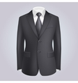Male Clothing Dark Suit with Tie vector image
