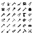 set of thirty six flat style black and white vector image