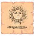 sun vintage stylized outline drawing of the sun vector image