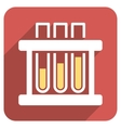 Test Tubes Flat Rounded Square Icon with Long vector image