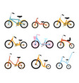 various kids bikes collection colorful bicycles vector image