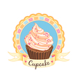 cupcake emblem vector image