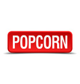 Popcorn red 3d square button isolated on white vector image