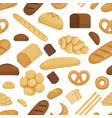 bread and other bakery foods in funny cartoon vector image