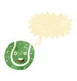 cartoon tennis ball with speech bubble vector image