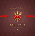Cover menu with golden cutlery and lettering vector image