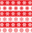 Winter Christmas red seamless pattern snowflakes vector image